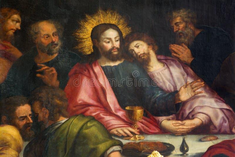 Antwerp - Jesus och St John äntligen kvällsmål i Jakobskerk royaltyfria bilder