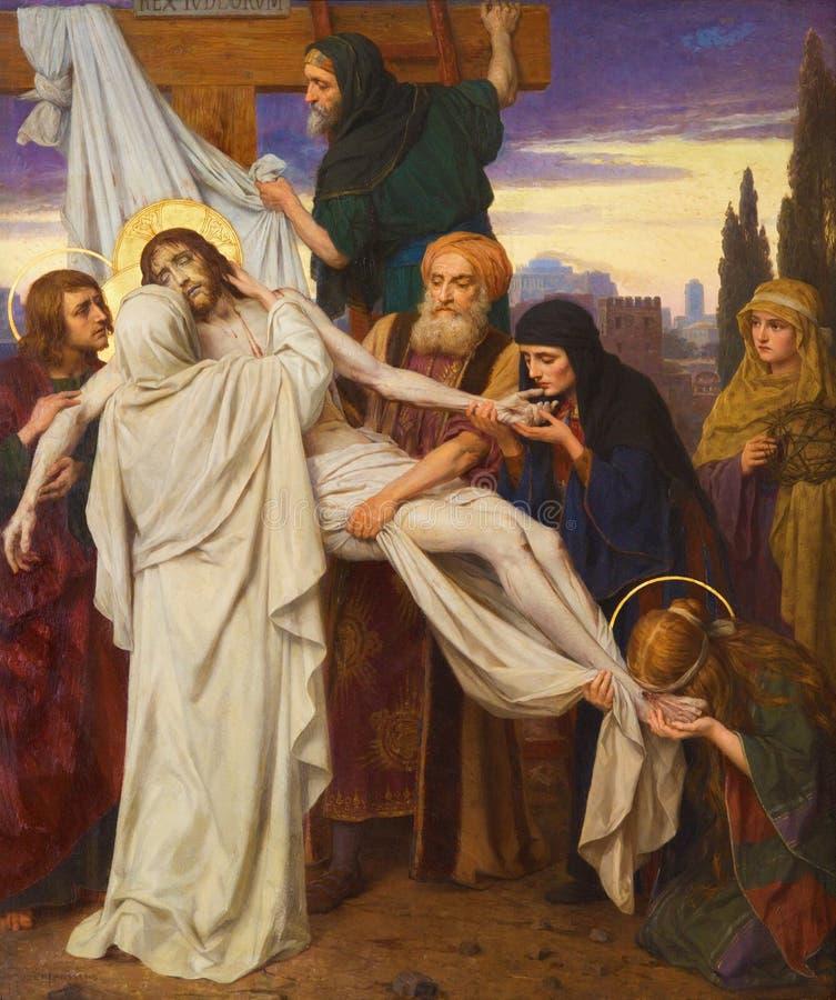 Antwerp - målarfärg av avlagring av korset som del av sju sorger av den jungfruliga cirkuleringen av Josef Janssens från år 1903 - arkivfoton