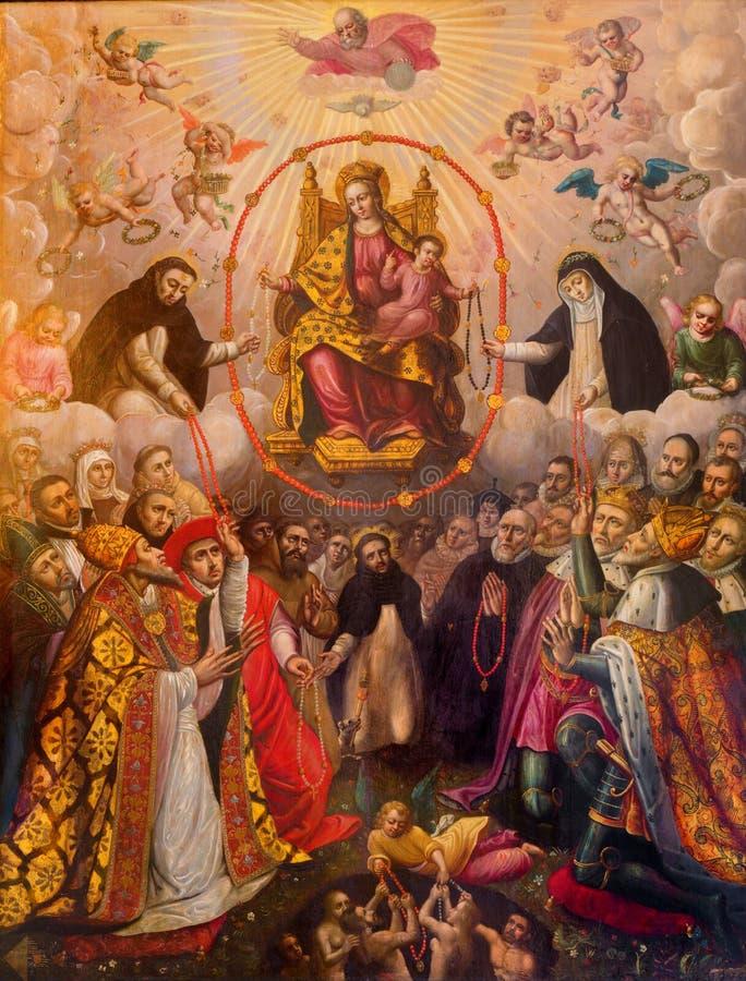 Antwerp - Madonna av radbandet. Målarfärg från. cent 19. i sidokorridor av kyrkan för St. Pauls (Paulskerk) royaltyfria foton