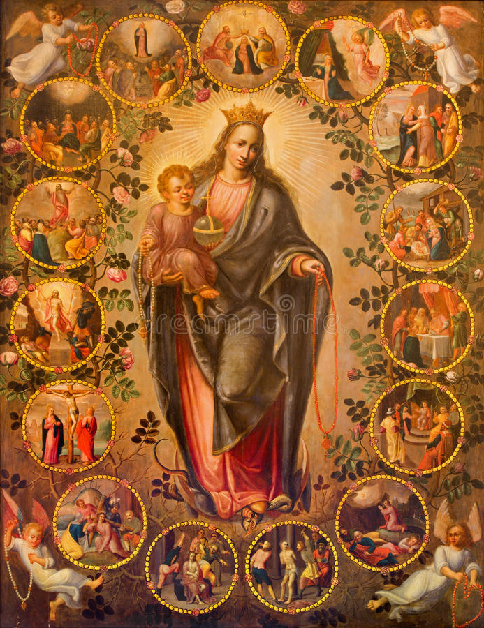 Antwerp - madonna różaniec. Farba od 19. centu. w bocznym korytarzu St. Pauls kościół (Paulskerk) obrazy stock