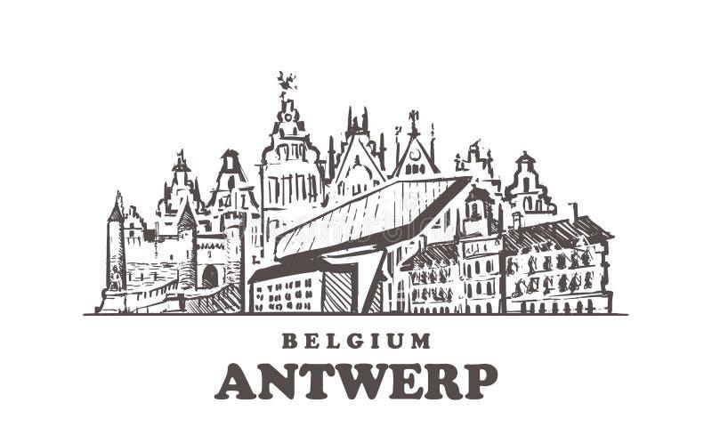 Antwerp nakreślenia linia horyzontu Antwerp, Belgia ręka rysująca wektorowa ilustracja ilustracji