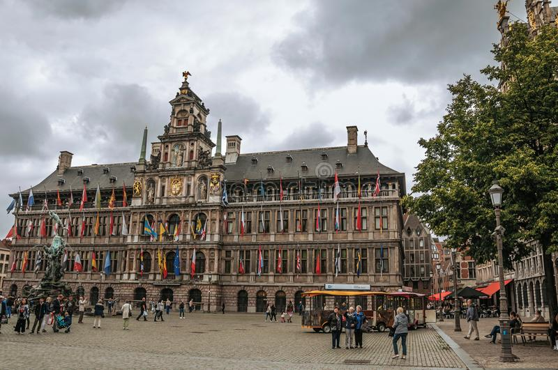 City Hall and people at the Grote Market Square in Antwerp. royalty free stock photo