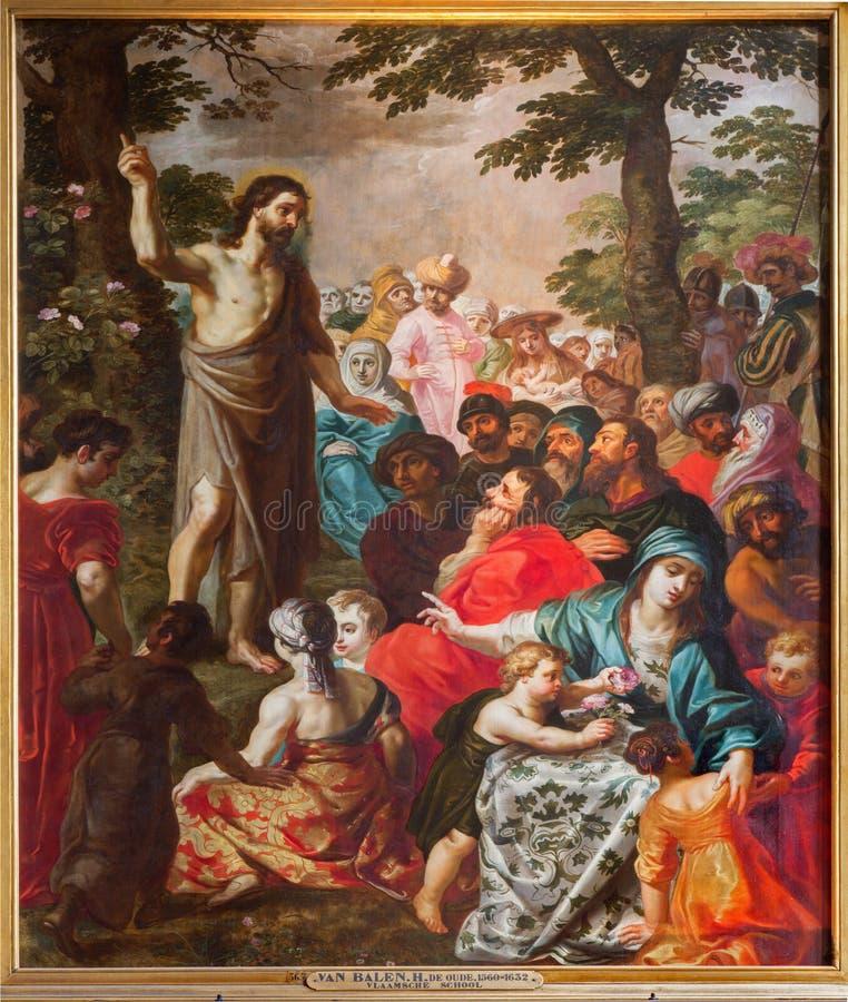 Antwerp - predikan av St John det baptistiskt av Van Balen H. de Oude (1560-1632) i domkyrkan av vår dam arkivfoto