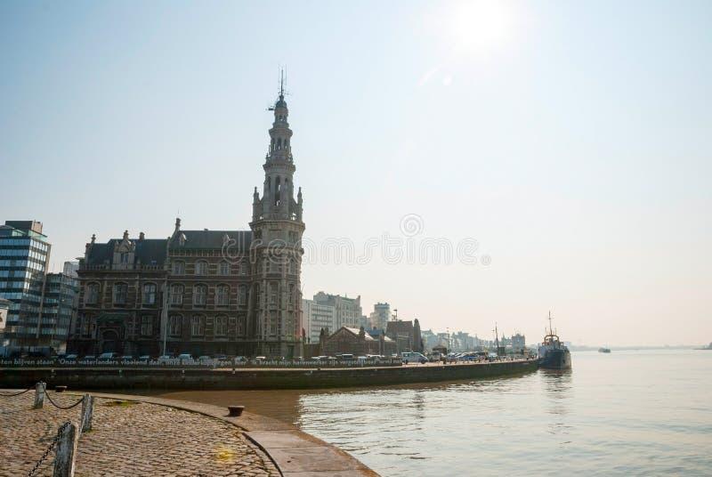 Antwerp rzeką fotografia stock