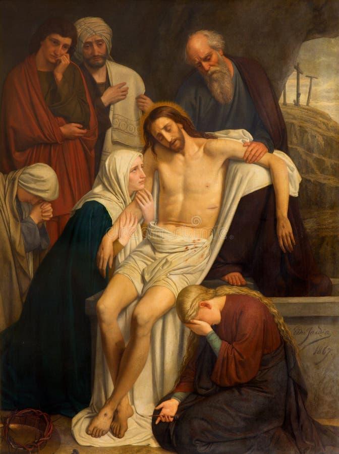 Antwerp - smärta av jordfästning av Jesus av konstnären Du Jardin från året 1867 i den helgonWillibrordus kyrkan royaltyfria foton