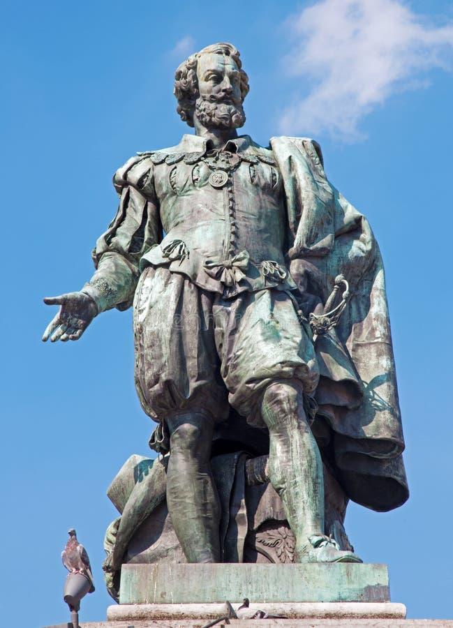 Antwerp - statua malarz P.P. Rubens Willem Geefs obraz stock
