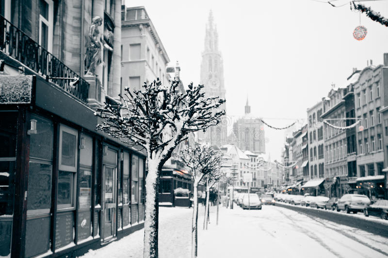 Download Antwerp At Winter Snowstorm. Royalty Free Stock Photo - Image: 27658145