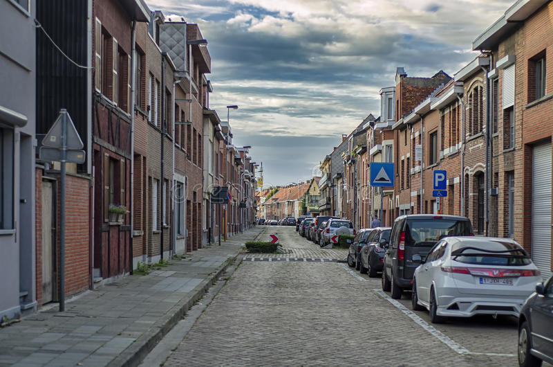 Antwerpen, BELGIO 03, settembre 2016 via calma Anversa fotografie stock libere da diritti