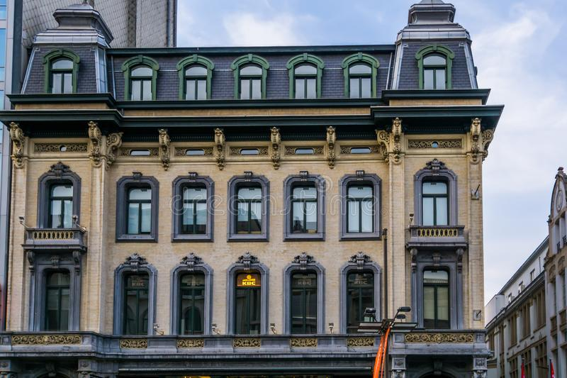 Antwerpen, Belgium, April 23, 2019, KBC bank building in antwerp city, Beautiful historical architecture in the city of antwerp stock images