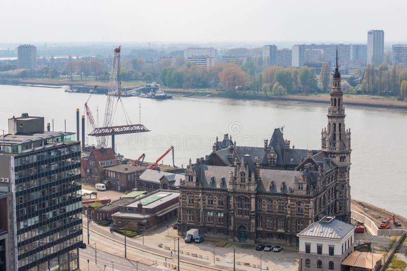 Antwerpen Belgium pejza? miejski z g?ry zdjęcie stock