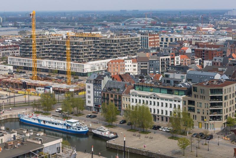 Antwerpen Belgium pejza? miejski z g?ry obrazy stock