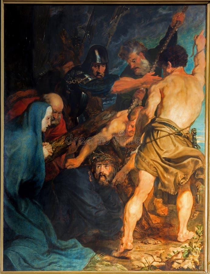 Antwerpen - das Carryng des Kreuzes. Farbe durch großen barocken Vorlagen-Anthony Van Dyck in Kirche St. Pauls (Paulskerk) stockbilder