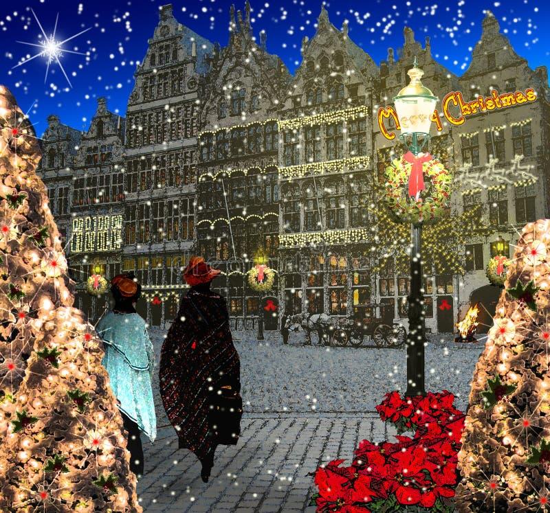 Antwerpen in de geestillustratie van Kerstmis vector illustratie