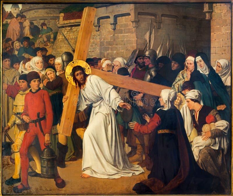 Antwerpen - Fresko - Jesus ontmoet de vrouwen van Jeruzalem door Josef Janssens van jaren 1903 - 1910 in de kathedraal van Onze Da royalty-vrije stock afbeeldingen