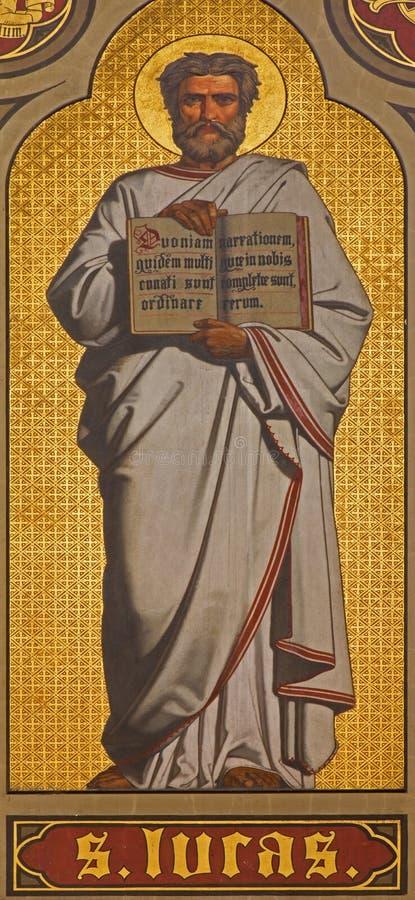 Antwerpen - Fresko van st. Luke de Evangelist in pastorie van Joriskerk of st. George kerk van. cent 19. stock afbeeldingen
