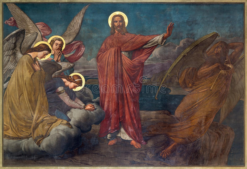 Antwerpen - Fresko van Verleiding van Jesus in Joriskerk of st. George kerk van. cent 19. stock fotografie