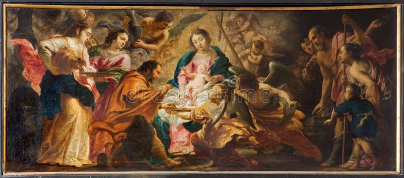 Antwerpen - Geboorte van Christusscène door Cornelis Schut (1597 - 1655) in zijkapel van barokke kerk Heilige Charles Boromeo stock foto