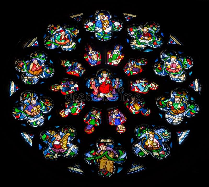 Antwerpen - Rozet in ruit van kathedraal van Onze Dame. royalty-vrije stock afbeeldingen