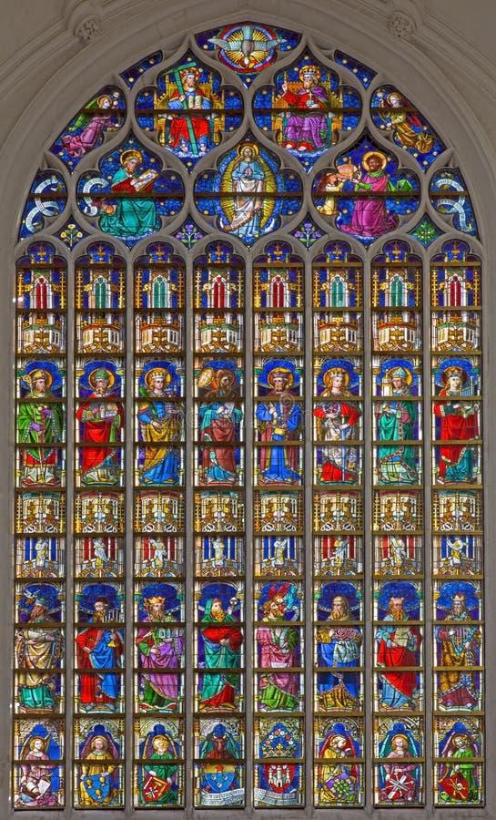 Antwerpen - Ruit in de gotische kathedraal van Onze Dame royalty-vrije stock foto's