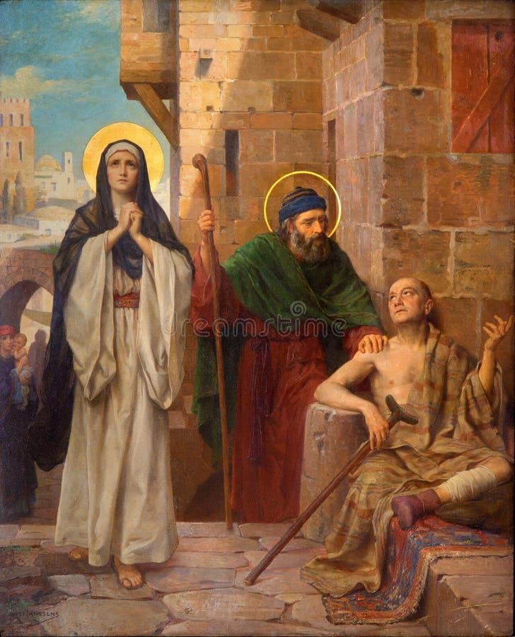 Antwerpen - St Peter und hl. Mary hielt den Lamé als Teil des Zyklus durch Josef Janssens von Jahren 1903 - 1910 in der Kathedrale stockbild
