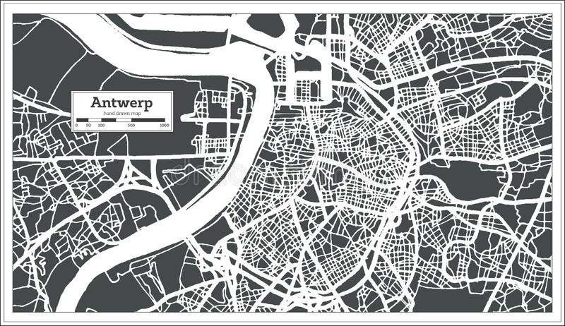 Antwerpen-Stadtplan im Retrostil Antilocapra Americana vektor abbildung