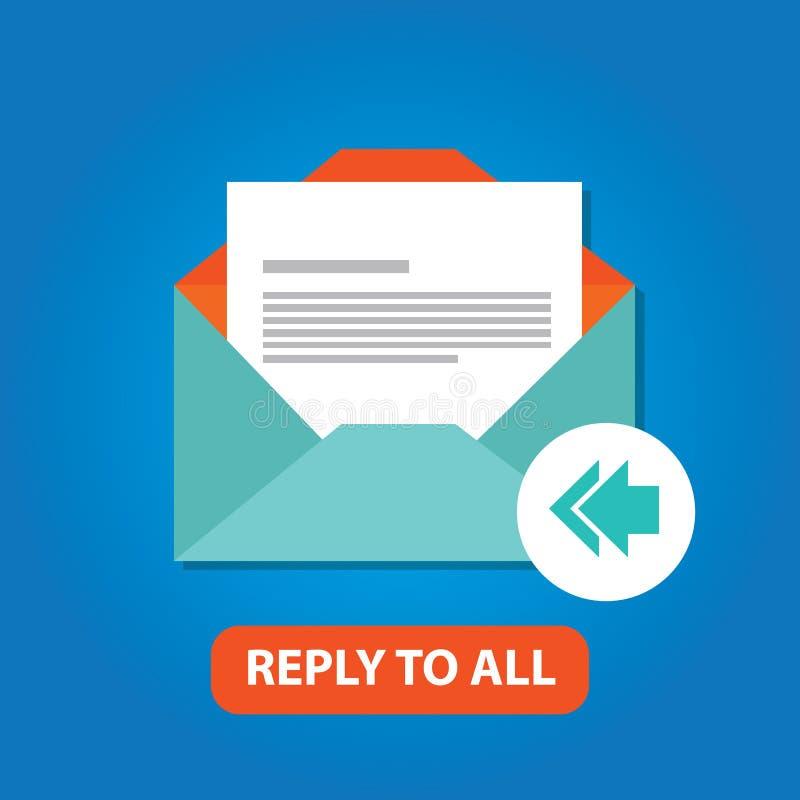 Antwoord op al rug van de e-mailpictogram vector vlakke pijl vector illustratie