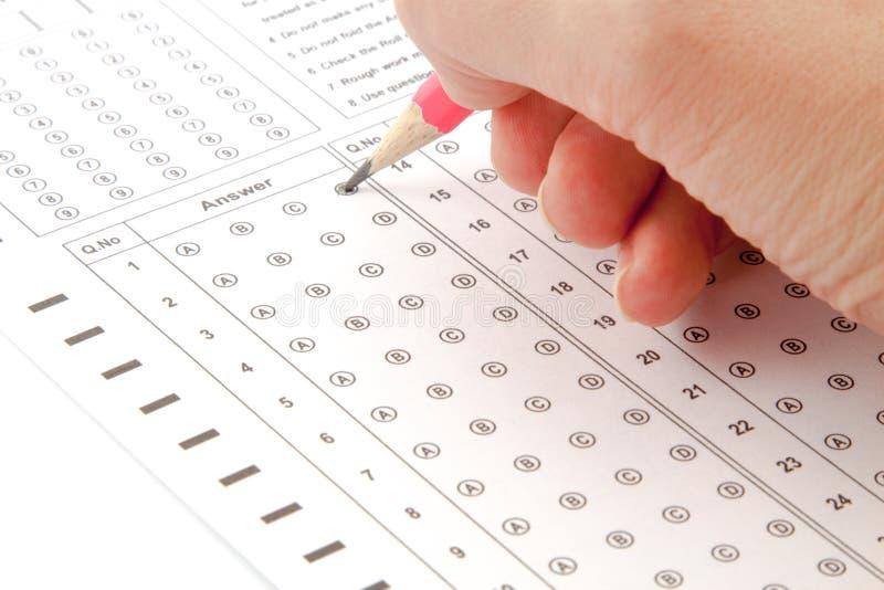 Antwoorden op de test stock afbeelding