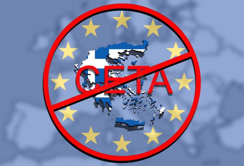 Anty采塔-关于欧洲联合背景,希腊地图的全面经济和贸易协定 向量例证