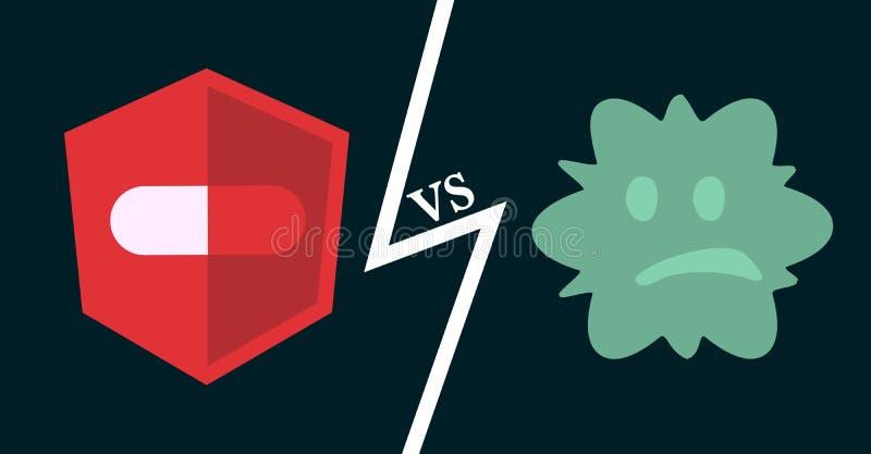 Antybiotyki vs bakterie ilustracji