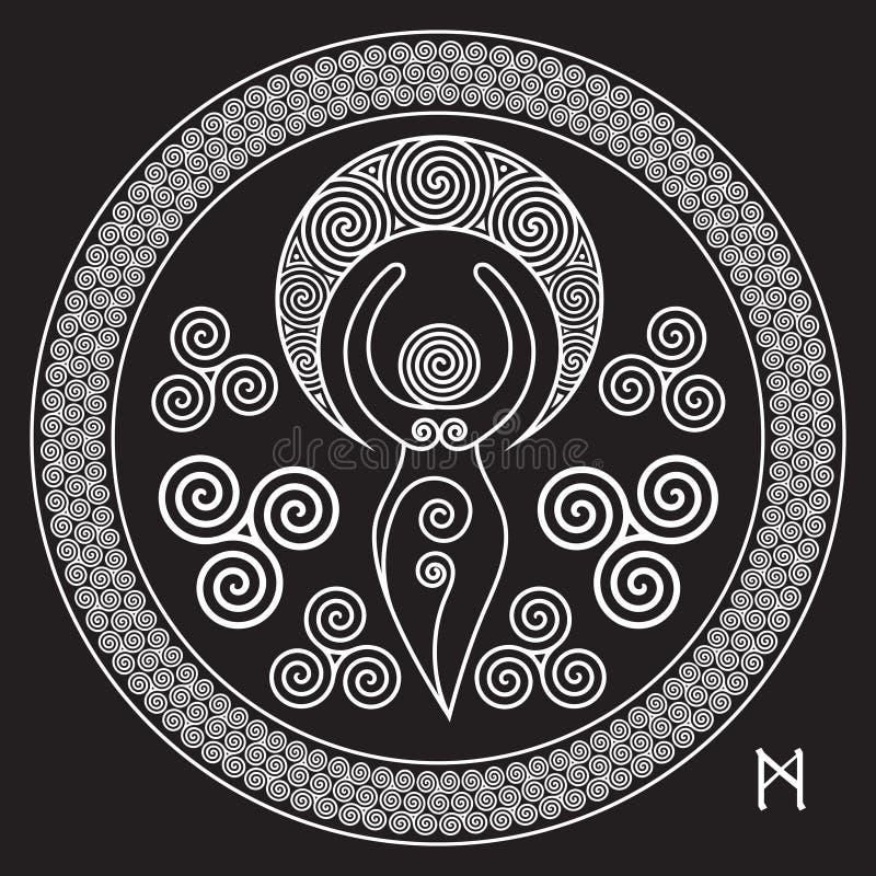 Antyczna Ślimakowata bogini: Ten delikatna bogini reprezentuje kreatywnie władzy Boski Kobiecy i nigdy kończy okrąg o, royalty ilustracja