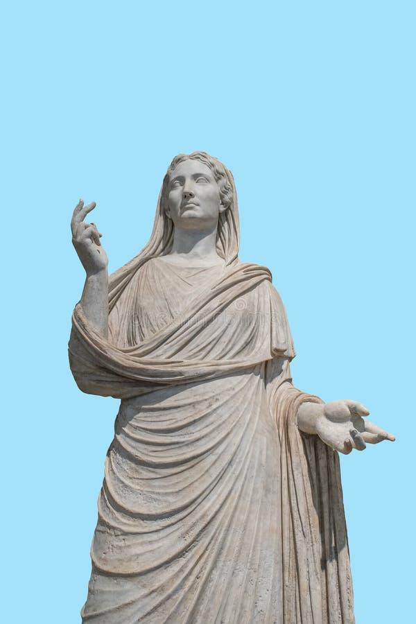 Antyczna żeńska statua na błękitnym tle Minimalny sztuki pojęcie zdjęcia royalty free