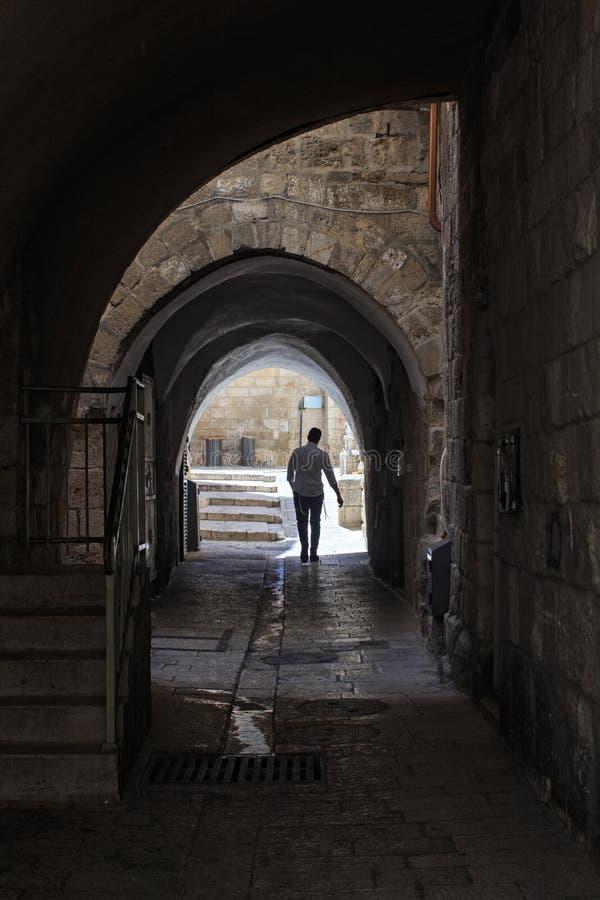 Antyczna aleja w Żydowskiej ćwiartce israel Jerusalem obrazy royalty free