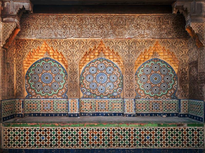 Antyczna Arabska nisza z mozaiką w Medina obrazy royalty free