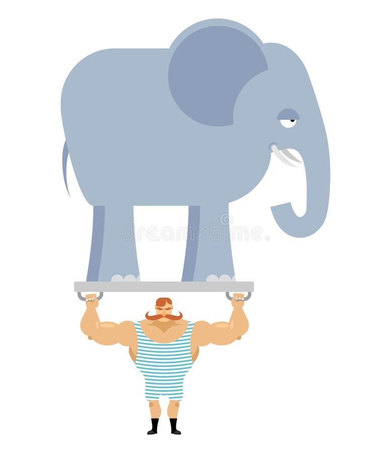 Antyczna atleta i słoń Rocznika cyrka siłacz ilustracja wektor