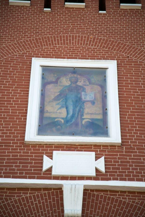 Antyczna bramy ikona wybawiciel spowodowany przez człowieka nad bramy Spasskaya wierza Moskwa Kremlin obraz stock