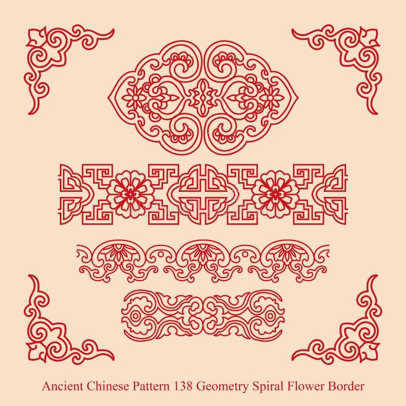 Antyczna chińczyka Pattern_138 geometrii spirali kwiatu granica royalty ilustracja