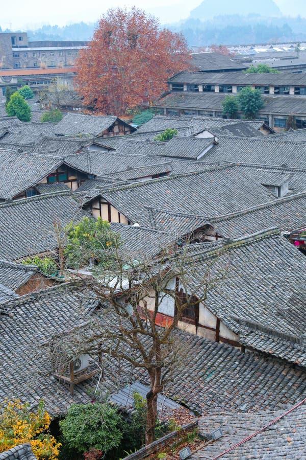 Antyczna Chińska architektoniczna społeczność, cegła i drewniana struktura, tradycyjna architektoniczna estetyka, architektoniczn zdjęcia stock