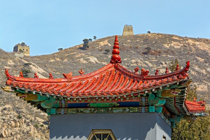 Antyczna Chińska architektura na wielkim murze Chiny zdjęcie stock