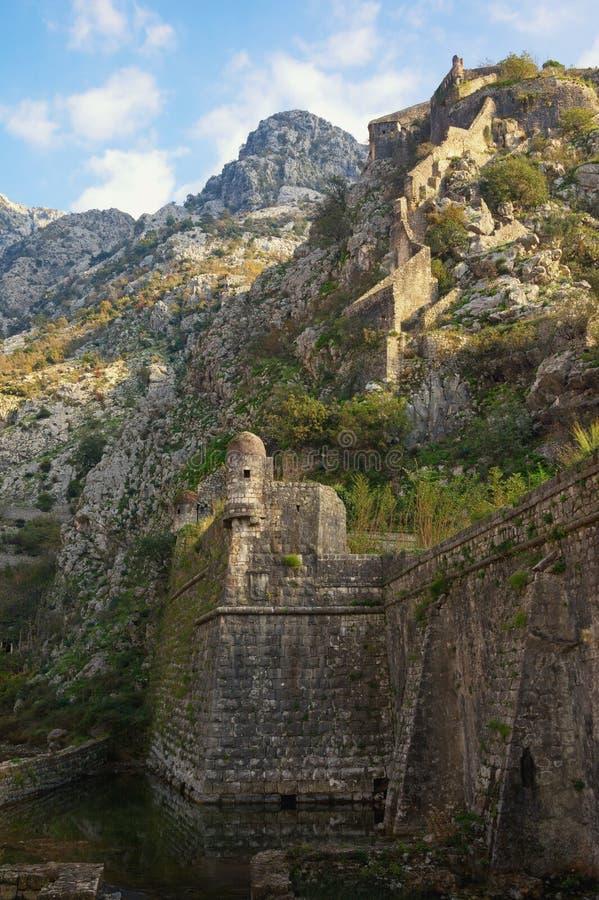 Antyczna fortyfikacja Montenegro Forteca w Starym miasteczku Kotor obrazy stock