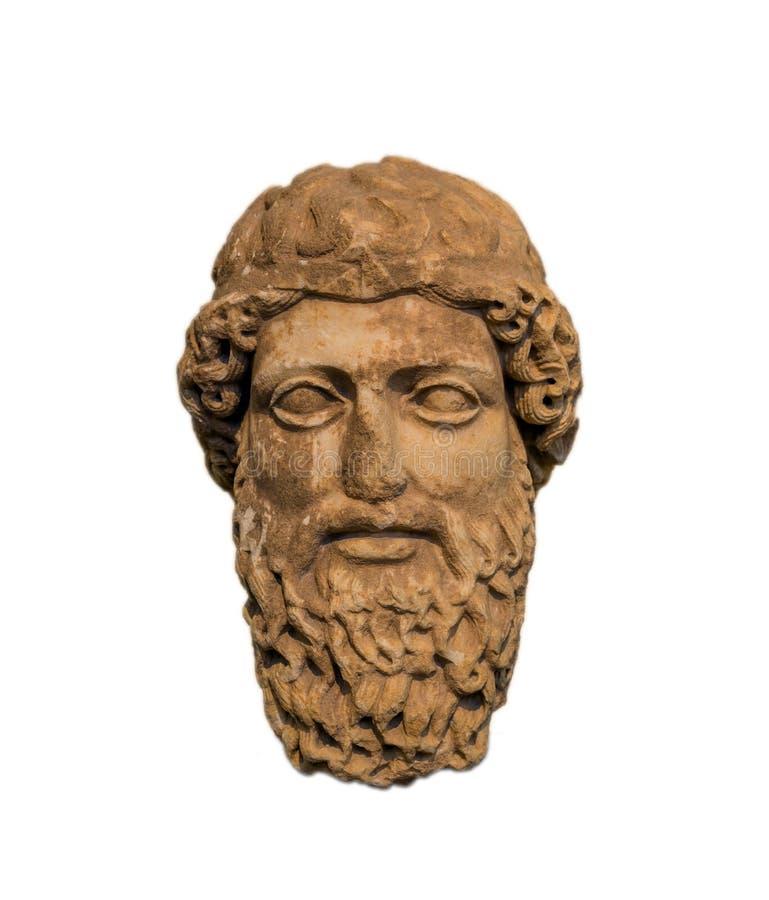 Antyczna głowa brodaty bóg, reprezentujący Zeus lub Hermes zdjęcia stock