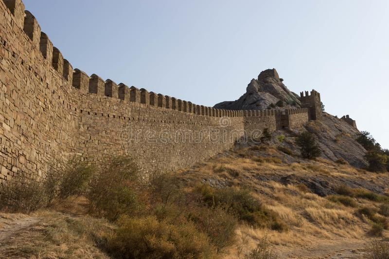 Antyczna Genueńska forteca ściana w Crimea republice, Rosja zdjęcia stock