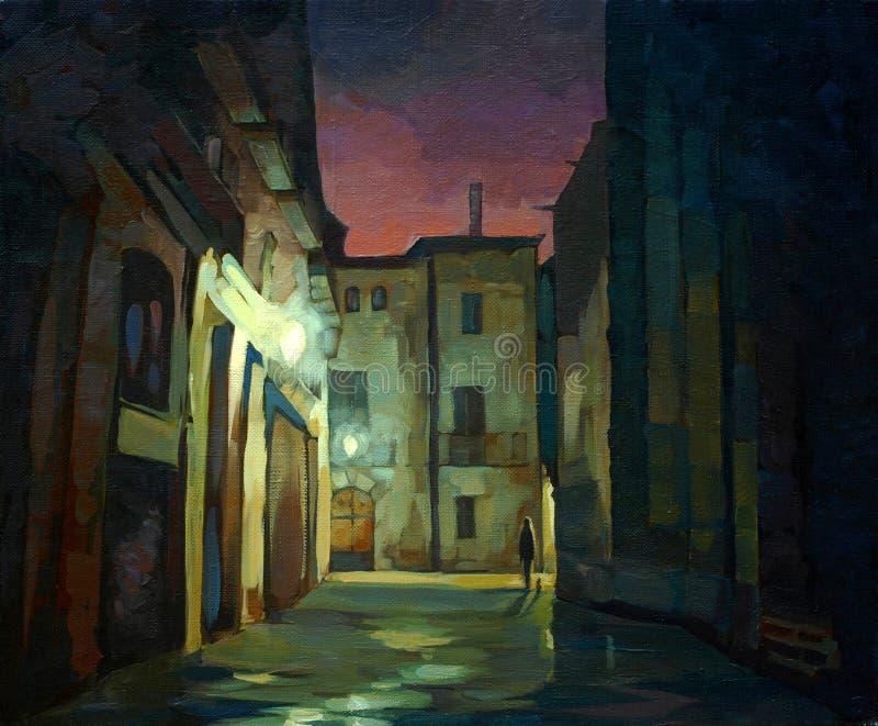 Antyczna gothic ćwiartka w Barcelona przy nocą royalty ilustracja