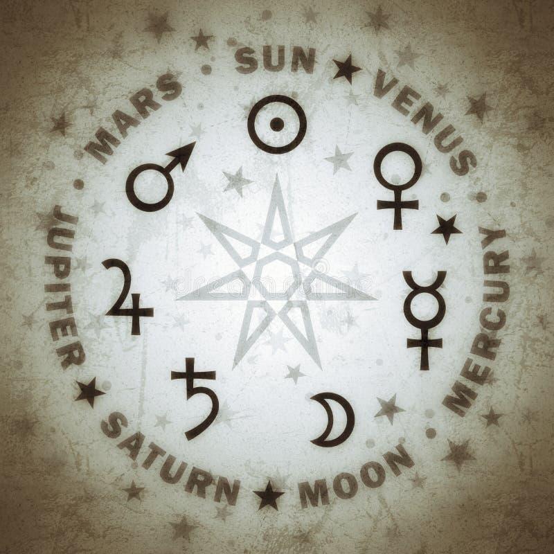 Antyczna gwiazda magicy Siedem planet astrologia ilustracji