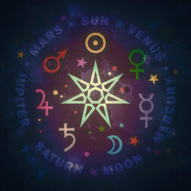 Antyczna gwiazda magicy Siedem planet astrologia ilustracja wektor