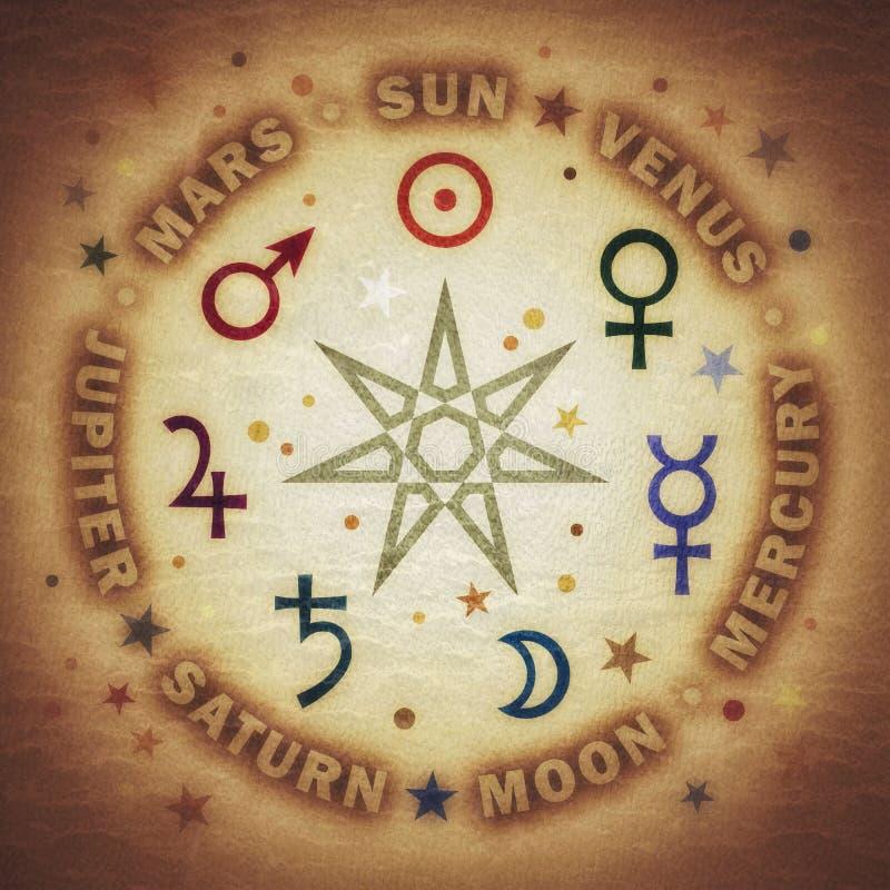 Antyczna gwiazda magicy Siedem planet astrologia royalty ilustracja
