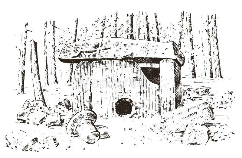antyczna jama prehistoryczny dom drewna lub kamienia skała z resztkami mężczyzna dzień lasu krajobraz pogodny siedlisko nieskazit ilustracja wektor