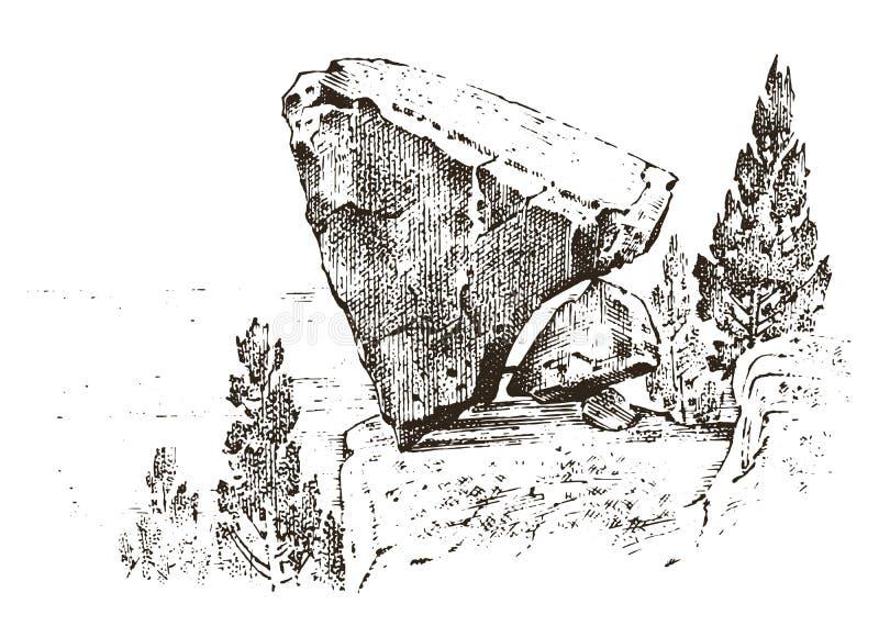 antyczna jama prehistoryczny dom drewna lub kamienia skała z resztkami mężczyzna dzień lasu krajobraz pogodny siedlisko nieskazit ilustracji