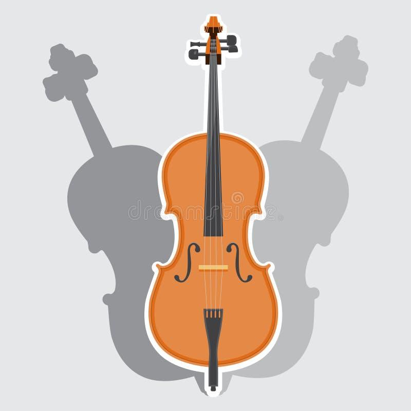 Antyczna klasyczna instrument muzyczny wiolonczela, nawleczona niebieski obraz nieba t?czow? chmura wektora ilustracja wektor