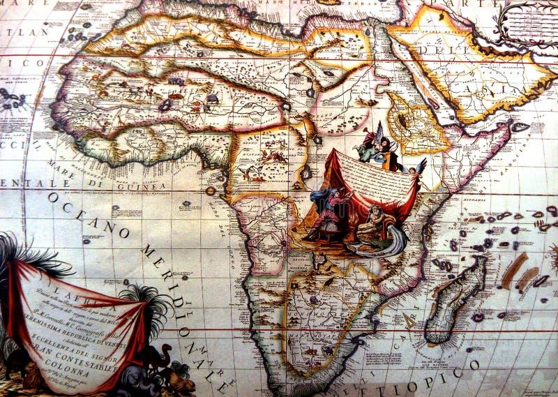 Antyczna mapa Afryka i półwysep arabski zdjęcie stock