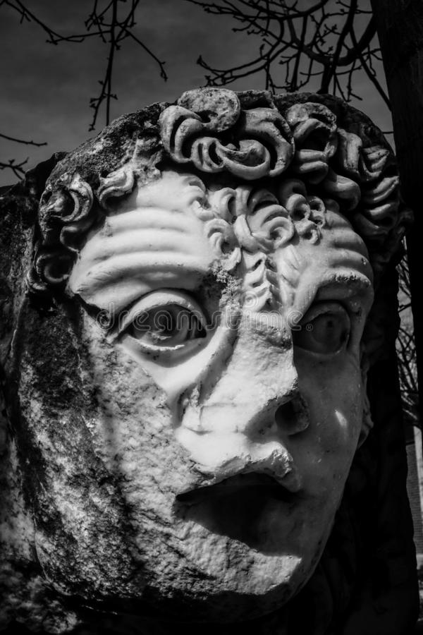Antyczna maska Aphrodisias Afrodisias Antyczny miasto w Caria, Karacasu, Aydin, Turcja zdjęcie royalty free